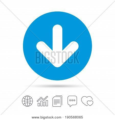 Download icon. Upload button. Load symbol. Copy files, chat speech bubble and chart web icons. Vector