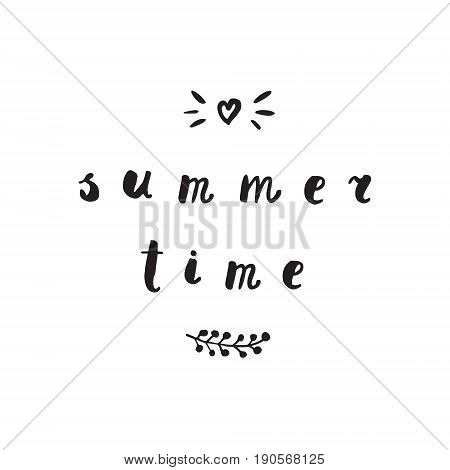 Summer time ink handwritten cursive font lettering illustration.