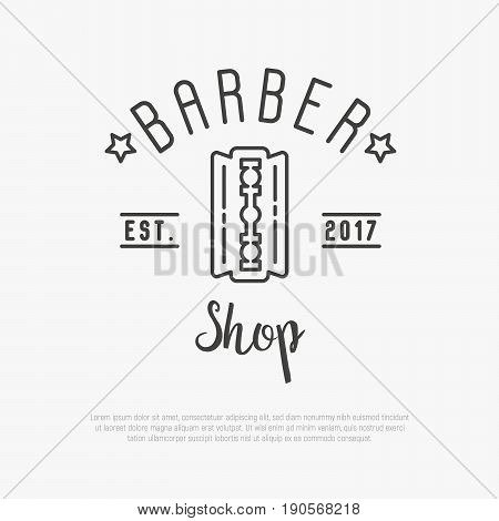 Hipster logo for barber shop with blade. Minimalistic thin line vector illustration.