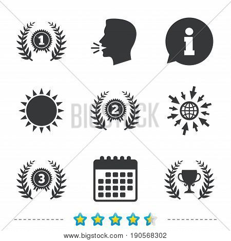 Laurel wreath award icons. Prize cup for winner signs. First, second and third place medals symbols. Information, go to web and calendar icons. Sun and loud speak symbol. Vector