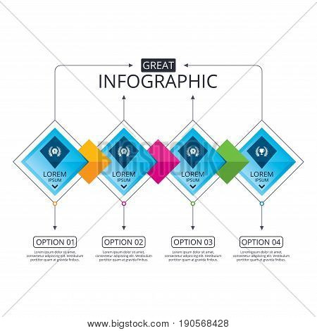 Infographic flowchart template. Business diagram with options. Laurel wreath award icons. Prize cup for winner signs. First, second and third place medals symbols. Timeline steps. Vector