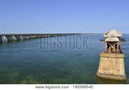 Bahia Honda road and Rail Bridge an abandoned bridge in the lower Florida Keys