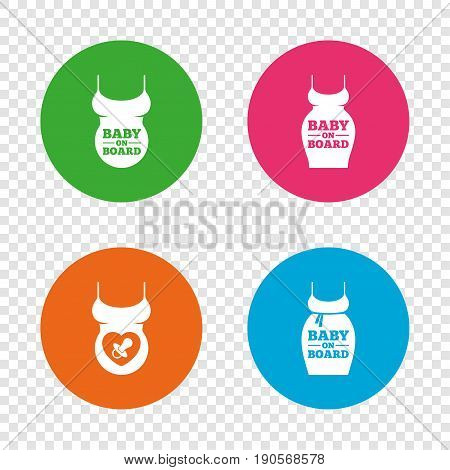 Baby on board icons. Infant caution signs. Child pacifier nipple. Pregnant woman dress with big belly. Round buttons on transparent background. Vector