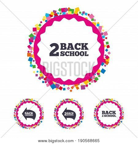 Web buttons with confetti pieces. Back to school icons. Studies after the holidays signs symbols. Bright stylish design. Vector