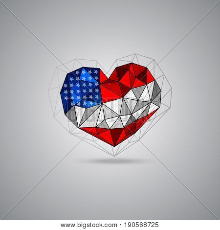 USA flag heart shape. Vector element for design of a poster flyer banner 4th July Independence day . Grunge polygon style Patriotic national symbol of United States of America.