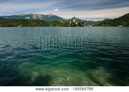 Magnificent view of small church at Lake Bled, Slovenia