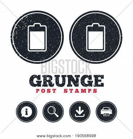 Grunge post stamps. Battery level sign icon. Electricity symbol. Information, download and printer signs. Aged texture web buttons. Vector