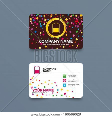 Business card template with confetti pieces. Battery half level sign icon. Low electricity symbol. Phone, web and location icons. Visiting card  Vector