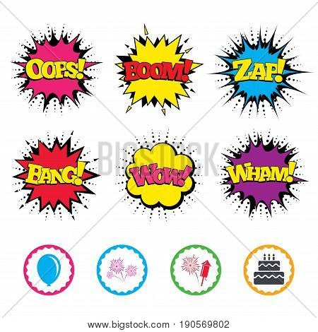 Comic Wow, Oops, Boom and Wham sound effects. Birthday party icons. Cake and gift box signs. Air balloon and fireworks symbol. Zap speech bubbles in pop art. Vector
