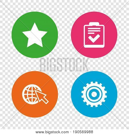 Star favorite and globe with mouse cursor icons. Checklist and cogwheel gear sign symbols. Round buttons on transparent background. Vector