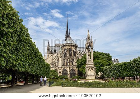 Paris, France - May 11, 2017: Backside view of the famous church Notre Dame