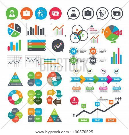 Business charts. Growth graph. Businessman icons. Human silhouette and cash money signs. Case and presentation symbols. Market report presentation. Vector
