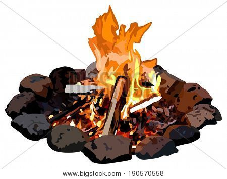 Fire Camp on isolated back grounds with stones surrounding burning coal firewood and flames