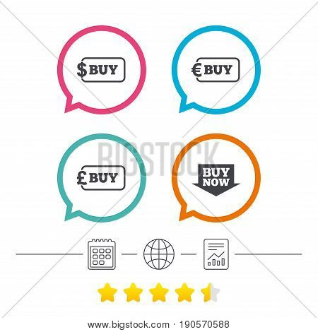 Buy now arrow icon. Online shopping signs. Dollar, euro and pound money currency symbols. Calendar, internet globe and report linear icons. Star vote ranking. Vector
