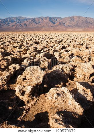 The uneven terrain referred to as the Devil's Golf Couse in Death Valley