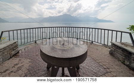 Viewpoint overlooking Lake Leman (Lake Geneva) at Montreux on a cloudy and partly sunny day.