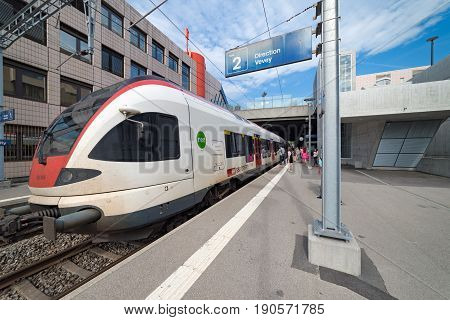 Pully, Switzerland. 3rd June 2017. A Stadler FLIRT electric multiple unit train is at Pully station ready to depart towards Montreux.