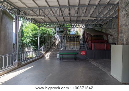 Montreux, Switzerland. 3rd June 2017, The lower terminus of the short funicular railway at the foot of the Swiss alps.