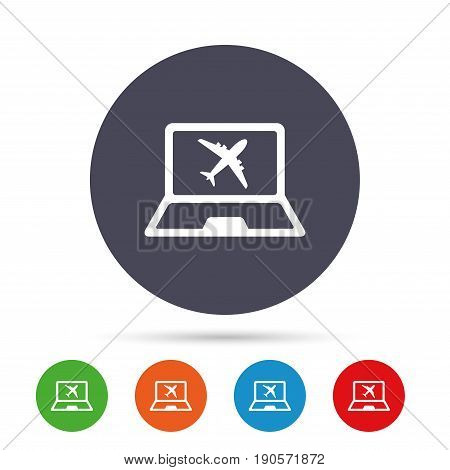 Online check-in sign. Airplane symbol. Travel Flight tickets label. Round colourful buttons with flat icons. Vector