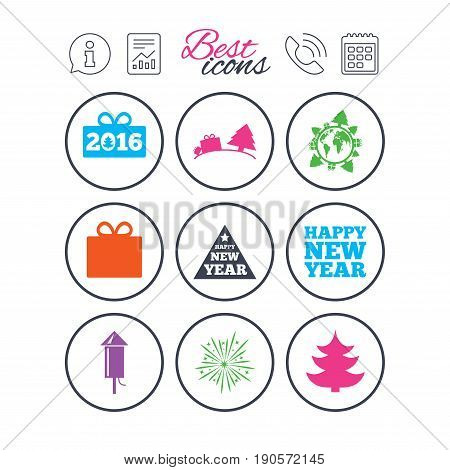 Information, report and calendar signs. Christmas, new year icons. Gift box, fireworks signs. Santa bag, salut and rocket symbols. Phone call symbol. Classic simple flat web icons. Vector