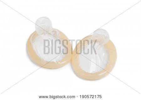 Condoms isolated on white background