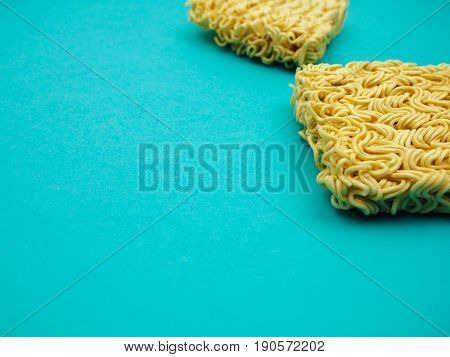 Top View Of Instant Noodles On A Blue Background, Space For Text, Food, Health
