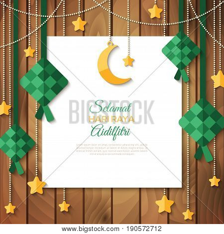 Selamat Hari Raya Aidilfitri greeting card. Vector illustration. Hanging ketupat and crescent with stars, garlands on wooden background. Caption: Fasting Day of Celebration