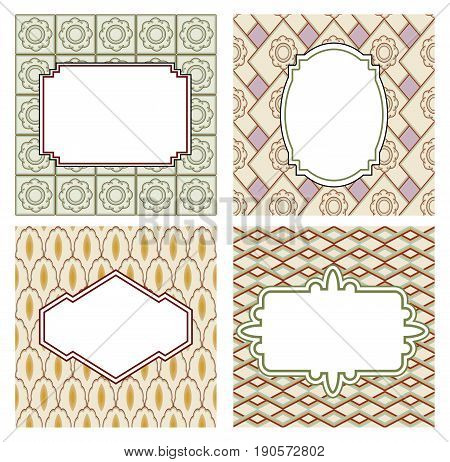 Vector vintage frames and backgrounds in art deco style