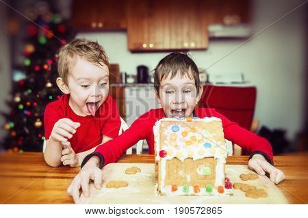 Children delighted with the gingerbread house. two boys happy and surprised seeing the gingerbread house