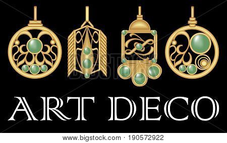 Gold earrings with green gem. Set of antique gold jewel in art deco style. Nostalgic vintage patterns. Metallic brass jewelry.