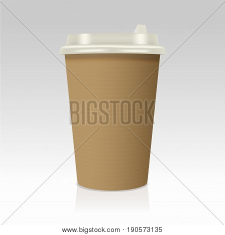 Realistic take away paper coffee cup. Vector illustration