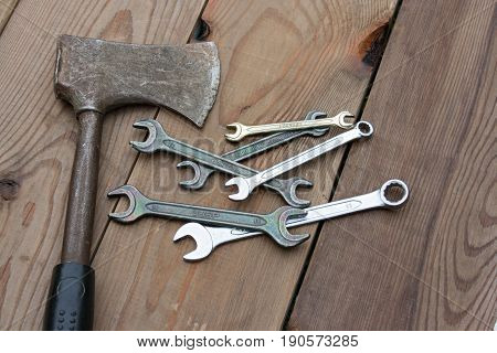 Spanners On The Background Of A Wooden Table