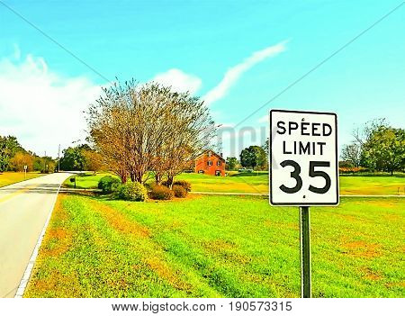 A scenic roadside view with a road sign and red barn in the background in pop art colors.