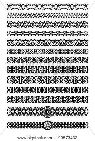 Set of art deco ornamental borders in black white vintage ornament for book leaflet poster menu invitation certificate eps 10 vector