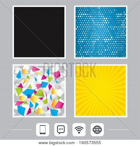 Carbon fiber texture. Yellow flare and abstract backgrounds. Communication icons. Smartphone and chat speech bubble symbols. Wifi and internet globe signs. Flat design web icons. Vector