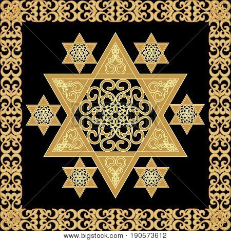 Star of David decoration tile with geometric vintage yew ornament in gold design eps10 vector