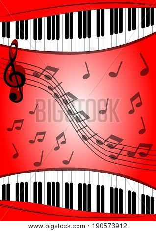 Background with musical theme piano keyboard stave treble clef on red area with gradient