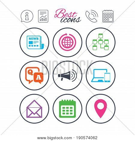 Information, report and calendar signs. Communication icons. News, chat messages and calendar signs. E-mail, question and answer symbols. Phone call symbol. Classic simple flat web icons. Vector