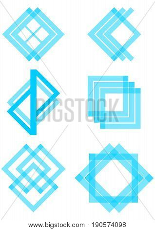 Set of blue logotype elements derived from the square and triangle