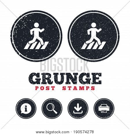 Grunge post stamps. Crosswalk icon. Crossing street sign. Information, download and printer signs. Aged texture web buttons. Vector