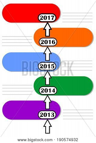 Infographic timeline template with empty colored frames and lines for own notes