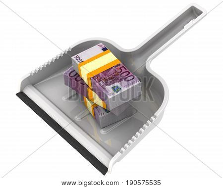 Money like garbage. The financial concept of the devaluation of the European currency. Isolated. 3D Illustration