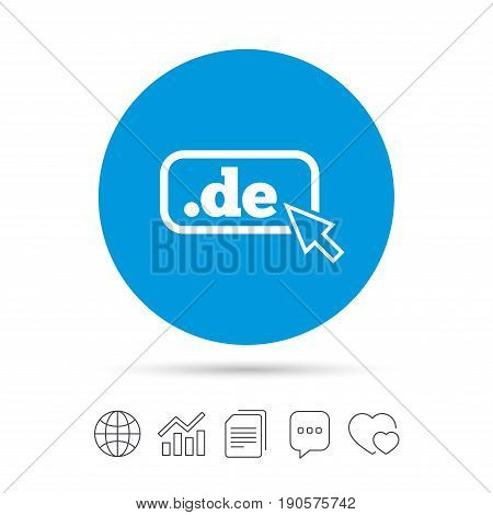 Domain DE sign icon. Top-level internet domain symbol with cursor pointer. Copy files, chat speech bubble and chart web icons. Vector