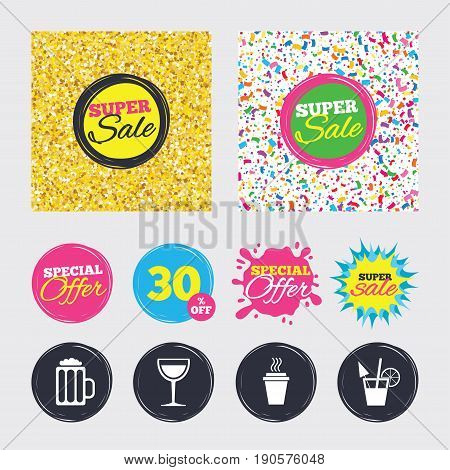 Gold glitter and confetti backgrounds. Covers, posters and flyers design. Drinks icons. Take away coffee cup and glass of beer symbols. Wine glass and cocktail signs. Sale banners. Vector