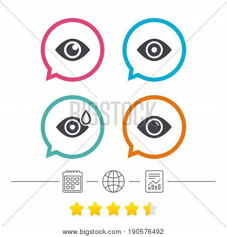 Eye icons. Water drops in the eye symbols. Red eye effect signs. Calendar, internet globe and report linear icons. Star vote ranking. Vector