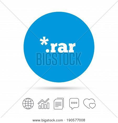Archive file icon. Download compressed file button. RAR zipped file extension symbol. Copy files, chat speech bubble and chart web icons. Vector