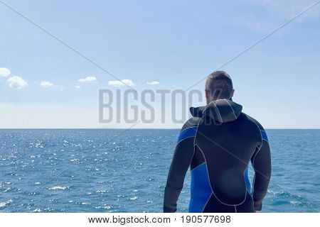 Scuba diver before diving. Open water.  Open water.