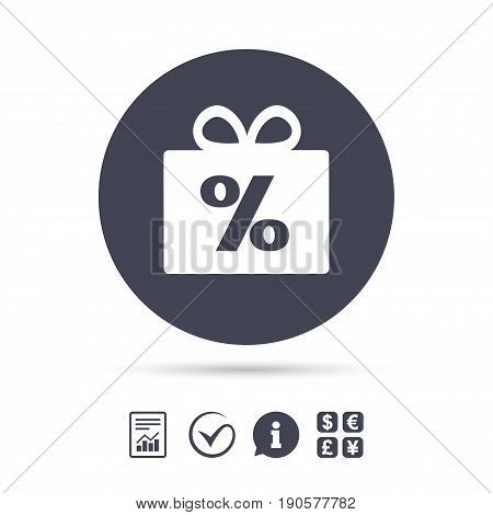 Gift box sign discount icon. Present symbol. Report document, information and check tick icons. Currency exchange. Vector