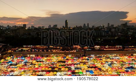 Bangkok Thailand - March 20 2017: Top view of colorful tent retail shop with night light at Talad Rod Fai Night Market Ratchada Bangkok Thailand