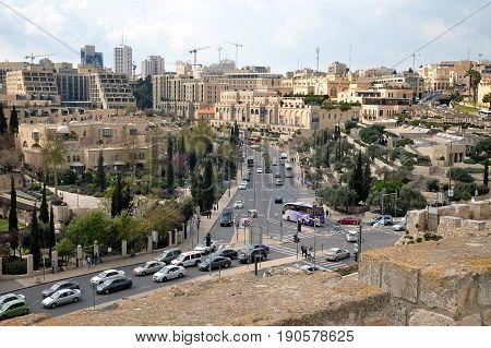 JERUSALEM ISRAEL - MARCH 25 2017: View of Jerusalem from the walls of the citadel